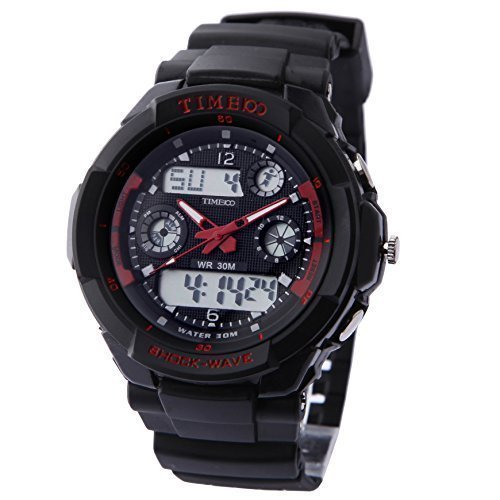 TIME100 Dual-time Multifunction Red Bezel Sport Electronic Watch #W40017M.02A