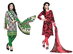 BanoRani Womens Combo Green & Tomato Red Color Casual & Printed PolyCotton Ladies Unstitched Salwar Suit Dress Material with Printed Dupatta