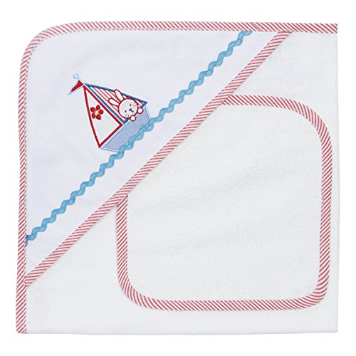 Elegant Baby Bath Time Gift Hooded Towel and Washcloth, Bunny Sailing