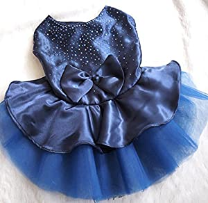 ONOR-Tech Lovely Cute Bling Bling Doggy Apparel Clothes Pet Puppy Dog Cat Bow Tutu Princess Dress Wedding Party Dress