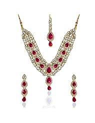 Dancing Girl Red Stones White Kundan Like Necklace Set For Women
