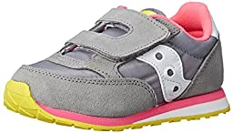 Saucony Girls Jazz H and L Sneaker (Toddler/Little Kid), Grey/Pink, 5 M US Toddler
