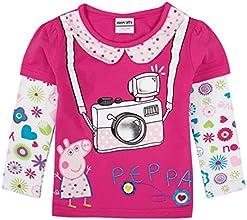 Little Girls Long-Sleeve Peppa Pig Cartoon Soft Printing Cotton T Shirts