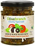 Olive Branch Green and Black Olive Tapenade with Sundried Tomato Feta and Greek Basil 180 g (Pack of 2)