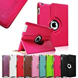 Fintie (Magenta) 360 Degree Rotating Stand Smart Cover PU Leather Case for Apple iPad 4th Generation Retina Display / the new iPad 3 / iPad 2 (Wake/sleep Function)-Multi Color Options