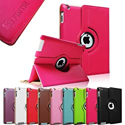 FINTIE (Magenta) 360 Degree Rotating Stand Smart Cover PU Leather Case for Apple iPad 4th Generation Retina Display / the new iPad 3 / iPad 2 (Wake/sleep Function)
