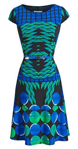 Joseph Ribkoff Blue, Green & Black Geometric Print Dress + Belt Style 151680 - Size 8