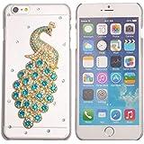 niceeshop(TM) Klar Kristall Diamant Strass Pfau PC Kunststoff Schutzhülle Case für iPhone 6 Plus (5.5 Inch) mit Displayschutzfolie (3pcs)