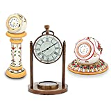 Little India Antique Clock Compass and Marble Clocks Combo (352, White)