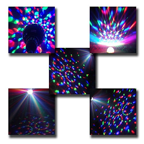 DLLL 3W Crystal Ball Magic RGB Automatic Rotating LED Stage Effect Wall Ceiling Light E27 Bulb ...