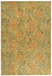 2'6&quot; x 4'3&quot; Rectangular Oscar Isberian Rugs Area Rug Woodland/Green Color Hand Tufted India &quot;Martha Stewart Collection&quot; Arcadia Design