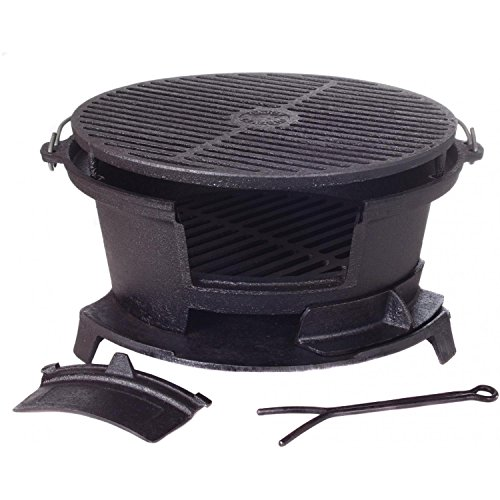 Cajun Cookware Round Seasoned Cast Iron Charcoal Hibachi