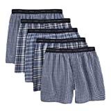 Hanes Men's Classics 5 Pack Yarn Dye Exposed Waistband Boxer, Black/Blue, Large, Colors may vary