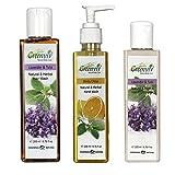 Greenviv Natural Combo of Minty Citrus Hand Wash (200 ml), Aloe-Vera & Carrot Sun Screen Lotion SPF-25 (100 ml) With Lavender & Tulsi Hair Wash (200 ml)