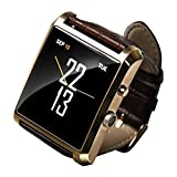 Invtepy® Sync Whasapp Facebook Pedometer New Bluetooth Watch Hd Camera Touch Screen WristWatch Smartwatch for Android Phone Samsung GALAXY Note 3/Samsung GALAXY S4 S5/Samsung GALAXY Grand 2/GALAXY S4/HTC One/Moto X/Nexus 5/Sony Xperia Z1/LG G2 Lumia1520 (Full Function) and Apple iPhone iphone(4/4S/5/5C/5S/6/6Plus)(Part of the function)-Golden