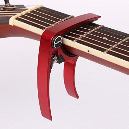【全7色】 2015年 モデル ギター カポタスト Guitar Capo フォーク エレキ 用 0.58 mm 0.71 mm 0.81 mm ピック 各2個 クロス 付き (2. レッド 赤)