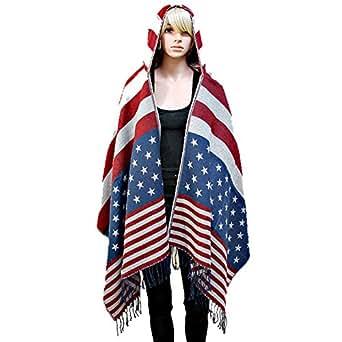 American Flag Hoodie Fringe Shawl Poncho at Amazon Women's