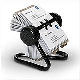 Relaxdays Rollkartei mit Metallständer und 200 Visitenkartenhüllen inkl. 24-teiligem A-Z