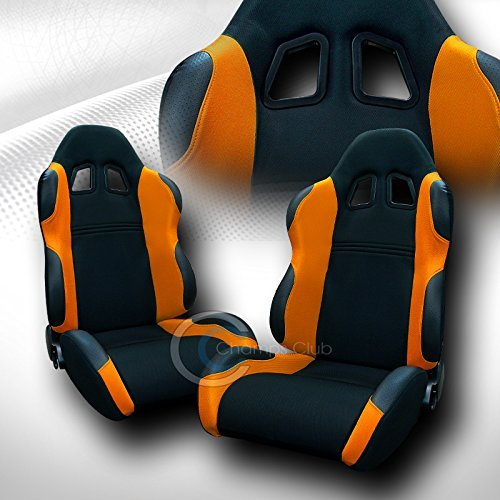 UNIVERSAL JDM-TS BLACK/ORANGE CLOTH CAR RACING BUCKET SEATS+SLIDERS PAIR FOR JAP (Racing Seats For 98 Dodge Neon compare prices)