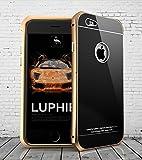 【LIHOULAI】Apple iPhone6s ケース アルミバンパー+9H強化ガラス背面 ケース スタンド機能付 (iPhone6S / iPhone6 対応) (ゴールド+ブラック)