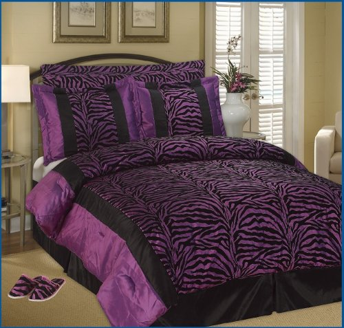 Purple comforter sets queen store - Black and purple bedding sets ...