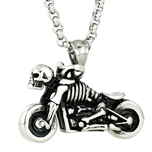 Stainless Steel Necklace, Men's Motorcycle Skeleton Skull Black Vintage Pendant Necklace