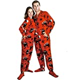 PajamaCity Ninja Monkey Polar Fleece Drop Seat Footed Pajamas for Teens and Adults Size 7 (5&#039;10&quot; to 6&#039;1&quot;)