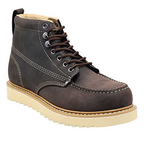 Golden Fox Oil Full Grain Leather Moc Toe Light Weight Work Boots for Men 8 D(M) US, Dark Brown