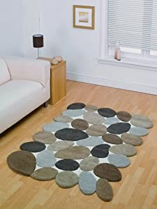 Flair Rugs Abstract Pebbles Pure Wool Hand Carved Rug, Beige, 120 x 180 Cm by Flair Rugs