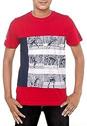 Menthol Boys Football-Theme Printed Tshirt (5-6 Years, Red)