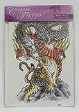 TATTOO 特大 タトゥーシール 龍 虎 ドラゴン タイガー 33cmX23cm 刺青 入れ墨