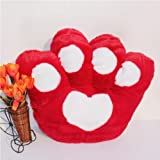 フワフワ クマの手?! ネコの手?! かわいい 肉球 クッション 40×45cm 8色 (レッド)