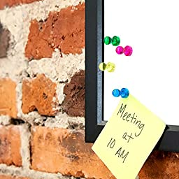 24 Acrylic Magnetic Push Pins - Assorted Colors - Perfect Magnet Set for Fridge and Refrigerator, Whiteboards, Dry Erase Boards, Maps and Teachers