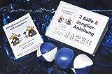: 3  Bälle & Jonglier-Anleitung: Kleine Bälle: blau-weiß, blau, blau-weiß (je 51mm/90g)