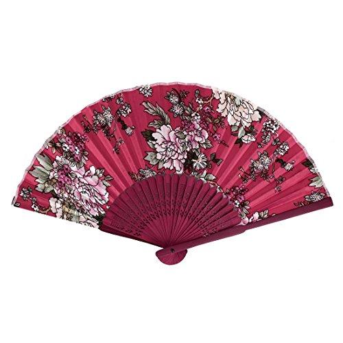 Bamboo Ribs tissu pliables Fleurs Imprimer Fan Main Multicolors Rouge