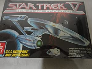 #6876 AMT Star Trek V the Final Frontier U.s.s. Enterprise and Shuttlecraft Plastic Model Kit,needs Assembly