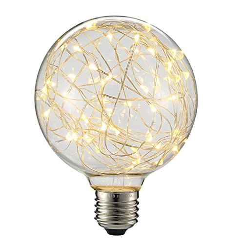 KINGSO G95 Vintage Edison Bulb,E27 Base 3W 300LM Antique Filament Globe Spiral Design LED Lights for Christmas Home Party Cafes Bars Decoration Warm White 0