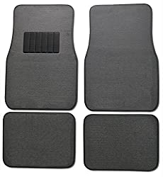 See BDK Carpeted 4 Piece Mat With Vinyl Heel Pad Car Vehicle Universal Fit (Light Gray) Details