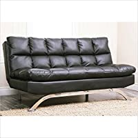 Abbyson Living Madison Black Leather Euro Lounger Sofa