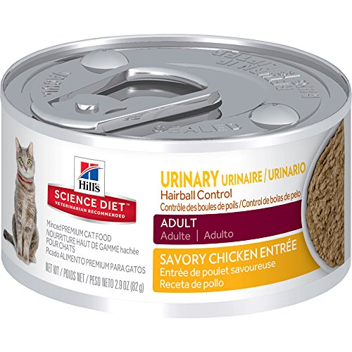 Hill's Science Diet Adult Urinary & Hairball Control Savory Chicken Entrée Canned Cat Food, 2.9 oz, 24-pack (Hills Canned Cat Food compare prices)