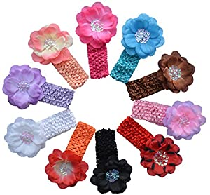 Qandsweet Baby Girl's Headbands Hair Clips Paillette Flower (10pcs 3.5