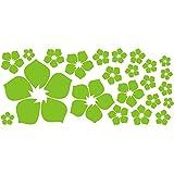 Amazon.co.jp【ufengke】23片小さな花ウォールペーパー 自分でDIY ウォールステッカー 客間 ベッドルームの壁に取り除くことできるの壁紙 浅緑