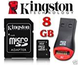 Kingston 8GB Micro SD Card SDHC With SD Adapter Card For Garmin Nuvi 3450LM 3490LMT 3550LM 3590LMT 2455LT 2455LMT 2475LT 2495LMT 2555LT 2555LMT 2595LMT & NUVI 30 40 40LM 50 50LM GPS Sat Nav By UkMobileAccessories