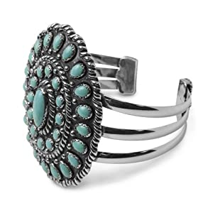 Southwest Spirit Sterling Silver Kingman Turquoise Statement Cuff