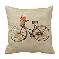 Vintage Bicycle Pillows Cushion Cover Fashion Home Decorative Pillowcase Cotton Polyester Pillow Cover(45cm x 45cm, One Sides) from Pillow Cover