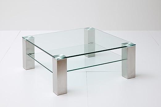Couchtisch, Beistelltisch, Wohnzimmertisch, Glas + Ablage, quadratisch, L= 90 cm