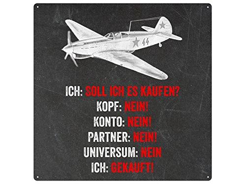 20x20-METALLSCHILD-Blechschild-Dekoschild-SOLL-ICH-ES-KAUFEN-Modellbau-Modellflieger-Geschenk-Dekoration-Pilot-lustig