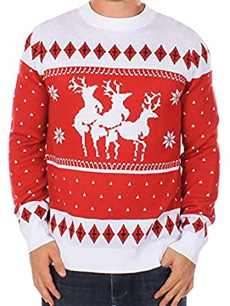 Ugly Christmas Sweater - Reindeer Menage a Trois Sweater by Tipsy Elves (XS)