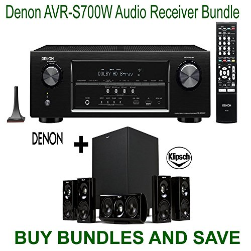 Denon AVRS700W 7.2 Channel Full 4K Ultra HD A/V Receiver with Bluetooth and Wi-Fi + Klipsch HDT-600 Home Theater System Bundle