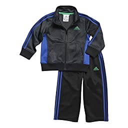 adidas Baby Boys\' Active Tricot Jacket and Pant Set, Black Print, 24 Months